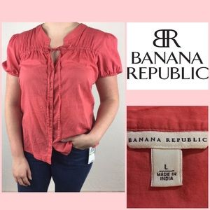 Banana Republic Short Sleeve Button Down Blouse LG